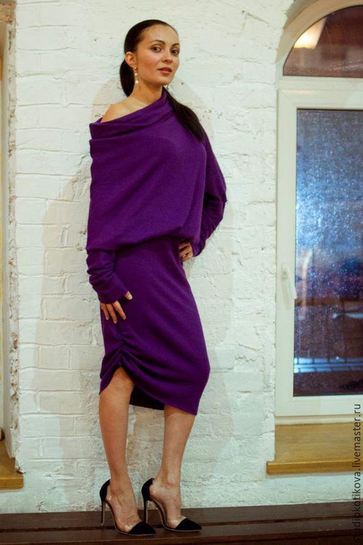 Платья ручной работы. Ярмарка Мастеров - ручная работа. Купить Теплое платье из мягкой шерсти. Handmade. Фиолетовый, морской волны