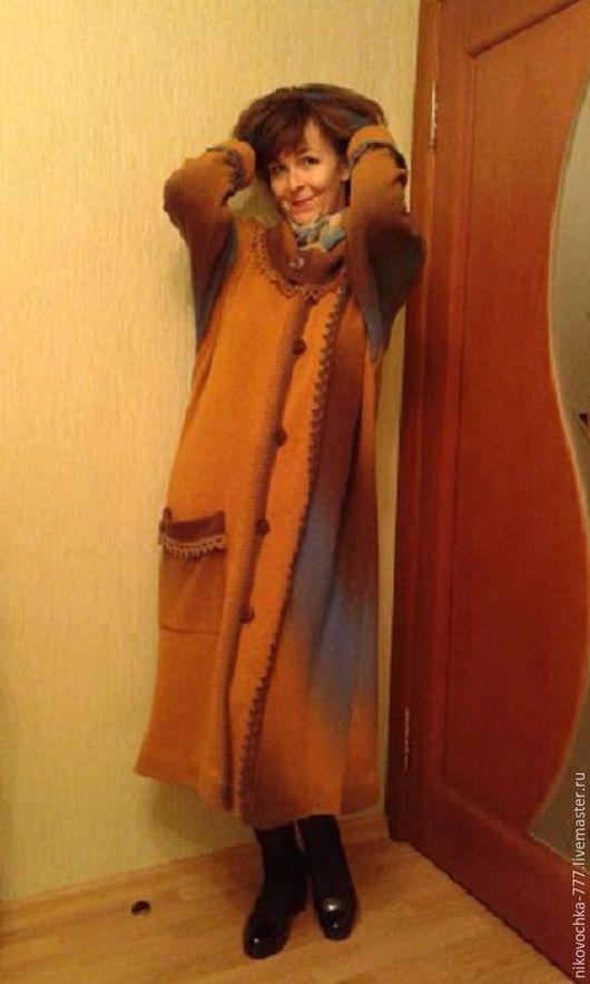 Авторское пальто `Фантазия`. Вязанная элегантность.