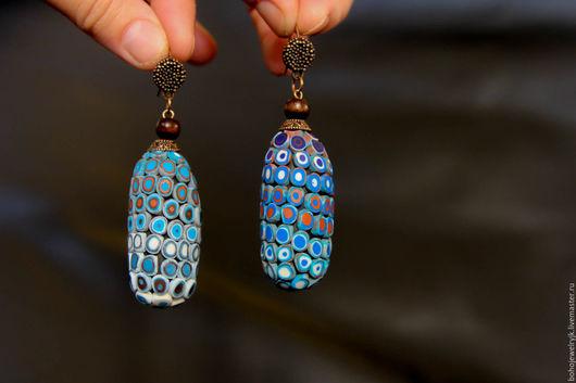 синие серьги бохо украшение этнические серьги