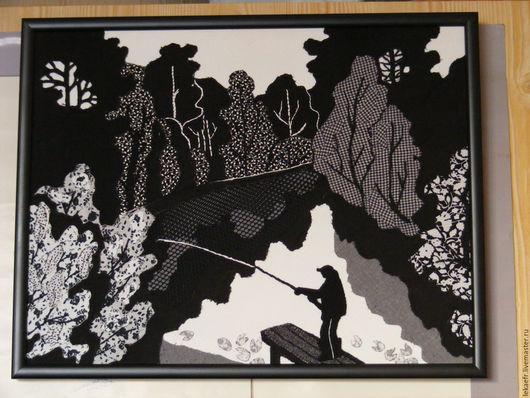 """Пейзаж ручной работы. Ярмарка Мастеров - ручная работа. Купить Текстильное панно """"На Елагине острове"""". Handmade. Санкт-Петербург"""