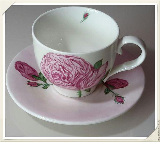 """Сервизы, чайные пары ручной работы. Ярмарка Мастеров - ручная работа. Купить Чайная пара """"Очаровательные розы"""". Handmade. Розы"""