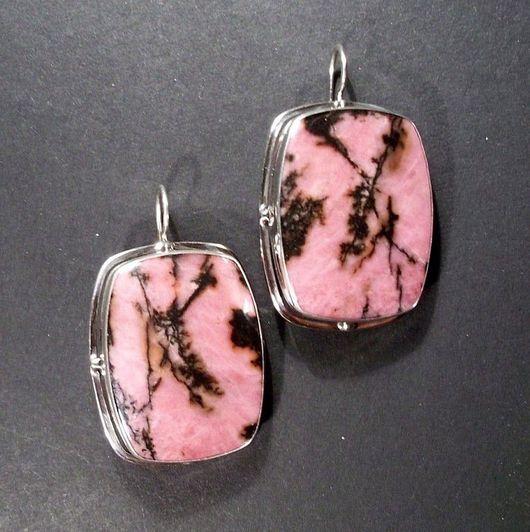 Jewelry Sets handmade. Livemaster - handmade. Buy Earrings rhodonite 'Heron'.Rhodonite, silver, jewelry, 925 sterling silver