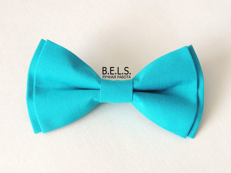 Бабочка галстук бирюзовая, хлопок, Свадебные аксессуары, Оренбург,  Фото №1