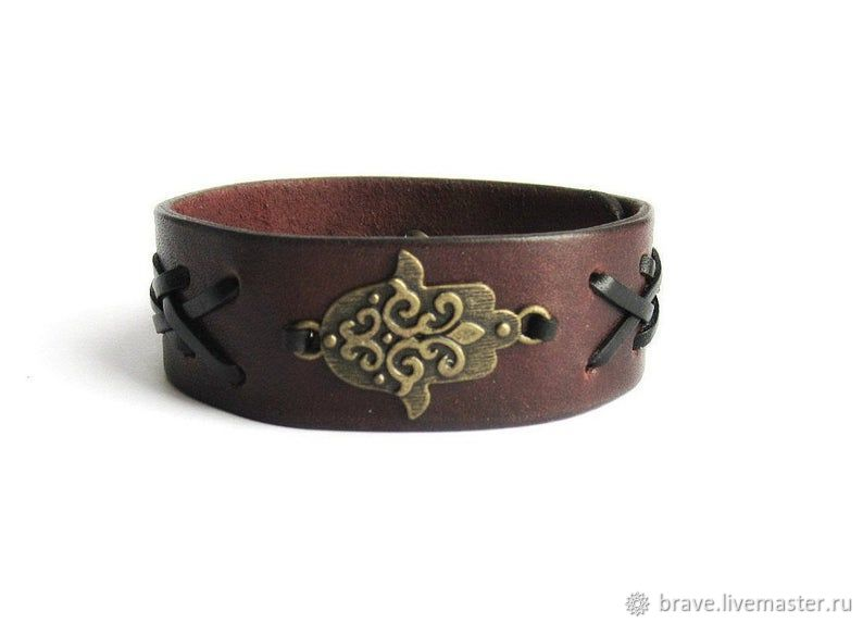 Wide Leather Bracelet Hamsa Amulet, Hard bracelet, Moscow,  Фото №1