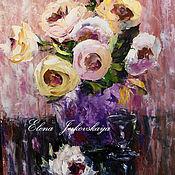 """Картины и панно ручной работы. Ярмарка Мастеров - ручная работа Картина маслом - """"Чайные розы"""" - цветы в вазе. Handmade."""
