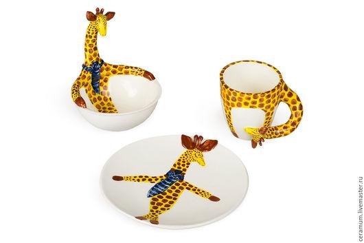 Пиалы ручной работы. Ярмарка Мастеров - ручная работа. Купить Набор посуды Жираф: пиала, тарелка. Handmade. Жираф, тарелка