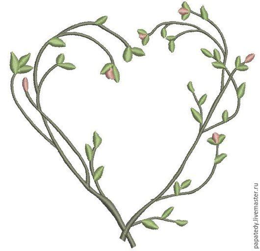 Иллюстрации ручной работы. Ярмарка Мастеров - ручная работа. Купить букет из веточек с цветами в виде сердца дизайн машинной вышивки. Handmade.