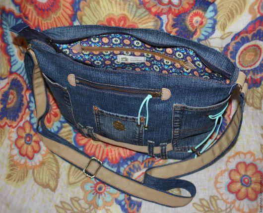"""Женские сумки ручной работы. Ярмарка Мастеров - ручная работа. Купить Джинсовая сумка """"Jeans style - 3"""". Handmade. молния"""