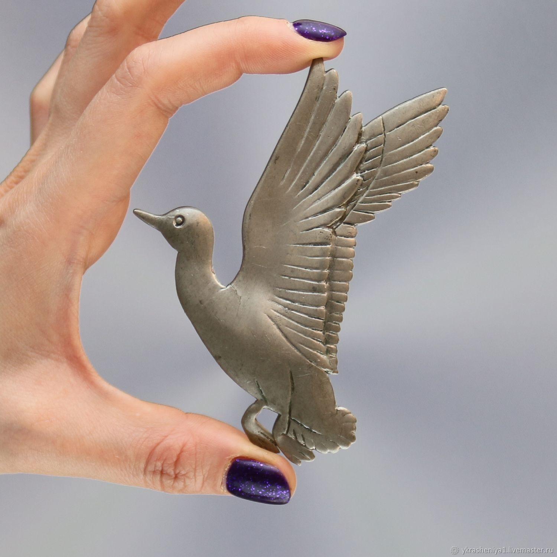 Винтаж: Антикварная крупная большая брошь птица утка олово Англия 395, Броши винтажные, Москва,  Фото №1