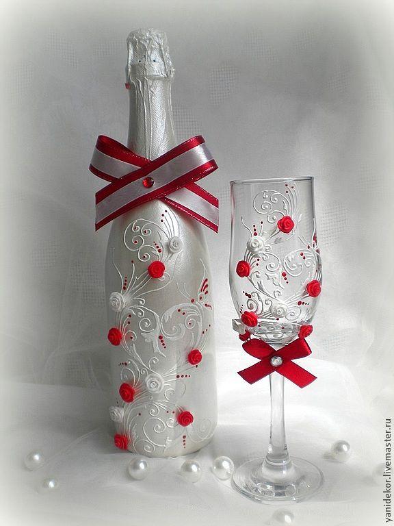 Оформление свадебных бокалов бутылок свечей