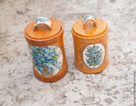 """Ванная комната ручной работы. Ярмарка Мастеров - ручная работа. Купить набор для хранения ватных палочек и дисков """"Незабудки"""". Handmade."""