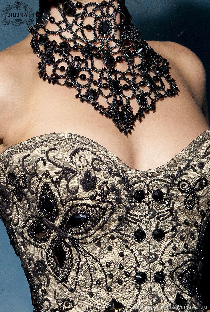 "Корсет ""Black Swan"" ручная вышивка, шелк, шантильи, Корсеты, Москва, Фото №1"