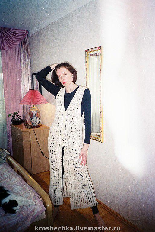 Vests handmade. Livemaster - handmade. Buy Cotton knit crochet vest 'Circles'.Hand knitting, knitted vest, summer fashion