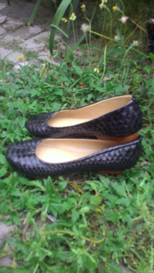 Обувь ручной работы. Ярмарка Мастеров - ручная работа. Купить Балетки из питона. распродажа. Handmade. Черный, туфли из питона