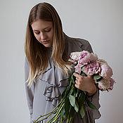 Одежда ручной работы. Ярмарка Мастеров - ручная работа Платье с воланами из серого шелка art.182a. Handmade.