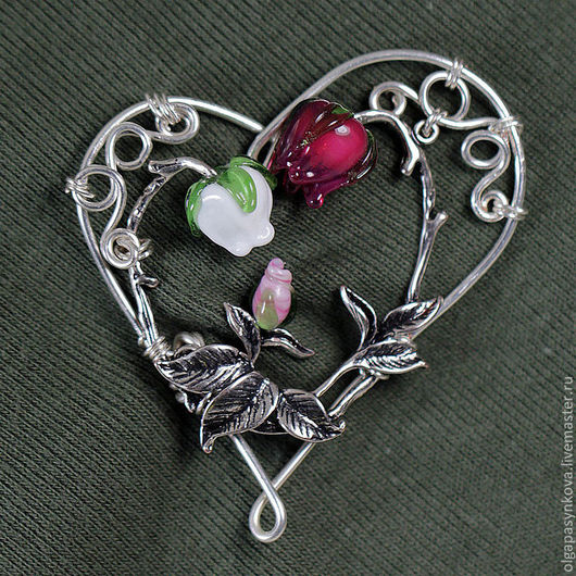 Броши ручной работы. Ярмарка Мастеров - ручная работа. Купить Брошь Мечты сбываются - лэмпворк сердце любовь цветы ребенок wire wrap. Handmade.