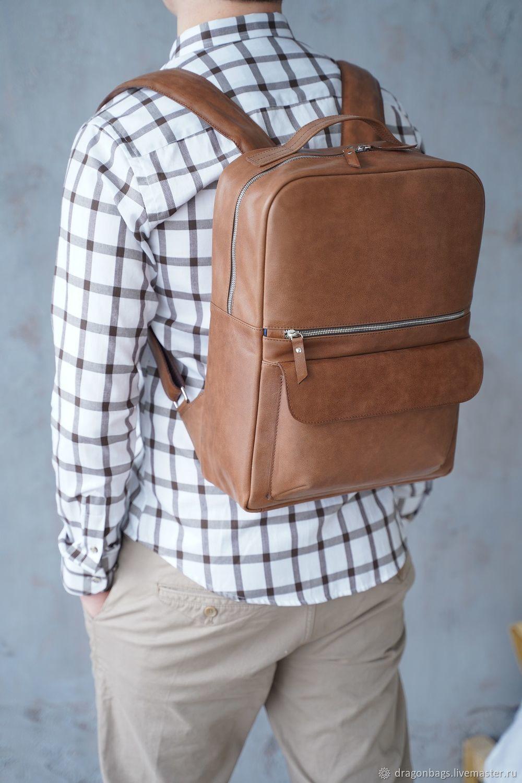 Backpack leather male 'Copper' (Red), Men\\\'s backpack, Yaroslavl,  Фото №1