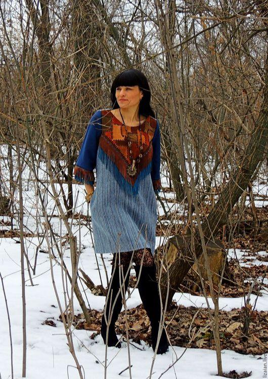 Платья ручной работы. Ярмарка Мастеров - ручная работа. Купить Платье из шерсти и натуральной кожи (№60). Handmade. Комбинированный