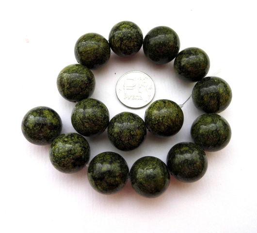 Для украшений ручной работы. Ярмарка Мастеров - ручная работа. Купить Змеевик 15 камней набор зеленый крупные бусины гладкие. Handmade.