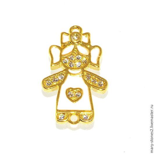 Для украшений ручной работы. Ярмарка Мастеров - ручная работа. Купить Коннектор девочка белая эмаль, желтое золото. Handmade.