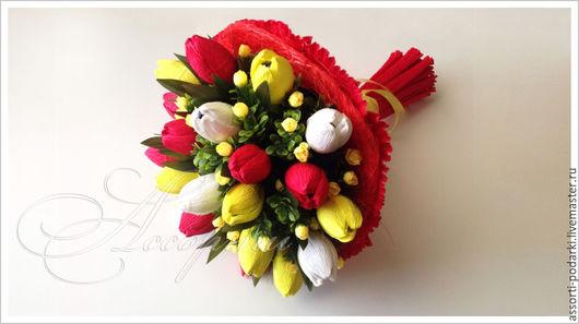 Персональные подарки ручной работы. Ярмарка Мастеров - ручная работа. Купить Букет из конфет Яркие тюльпаны. Handmade. Ярко-красный