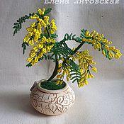 Цветы и флористика ручной работы. Ярмарка Мастеров - ручная работа Мимоза из бисера. Handmade.