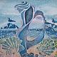 Фантазийные сюжеты ручной работы. Ярмарка Мастеров - ручная работа. Купить Картина Фламенко Побережья выполненная на шелке в технике батика. Handmade.