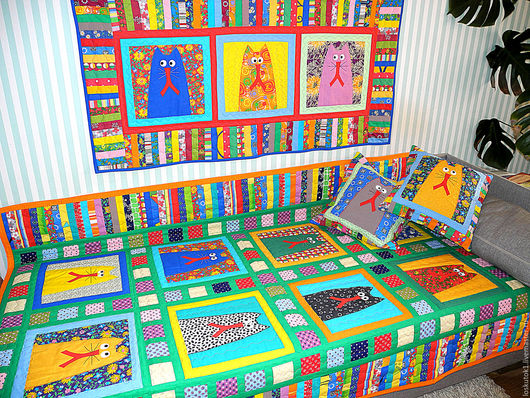 Детская ручной работы. Ярмарка Мастеров - ручная работа. Купить интерьер детской комнаты в кошачьем стиле (лоскутное шитье,аппликация). Handmade.