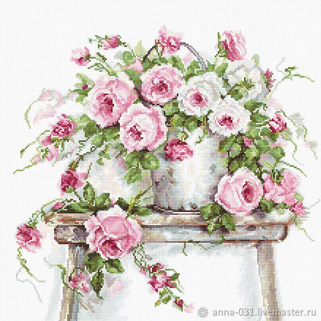 Набор для вышивания LUCA-S  Розы на табурете, Схемы для вышивки, Курчатов,  Фото №1