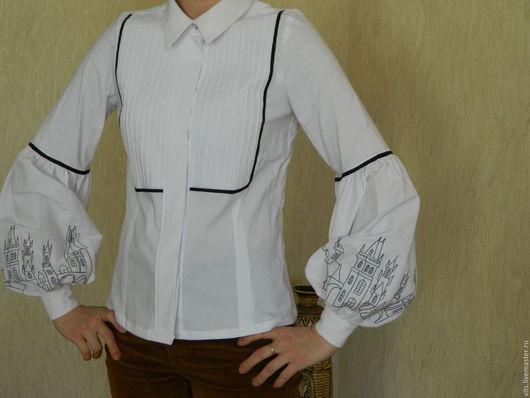 """Блузки ручной работы. Ярмарка Мастеров - ручная работа. Купить блузка с вышивкой """"Старинный Город"""". Handmade. Белый, белая блузка"""