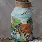 """Для дома и интерьера ручной работы. Ярмарка Мастеров - ручная работа Бидон """"Дачный домик"""". Handmade."""