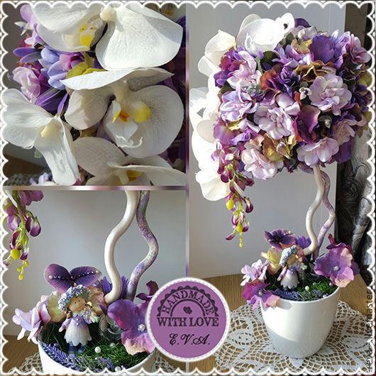 """Топиарии ручной работы. Ярмарка Мастеров - ручная работа. Купить Топиарий """"Прогулки в фиолетовом саду"""", дерево счастья. Handmade."""