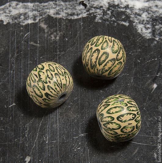 Для украшений ручной работы. Ярмарка Мастеров - ручная работа. Купить Бежевые мозаичные стеклянные бусины диаметром 20 мм. Handmade.