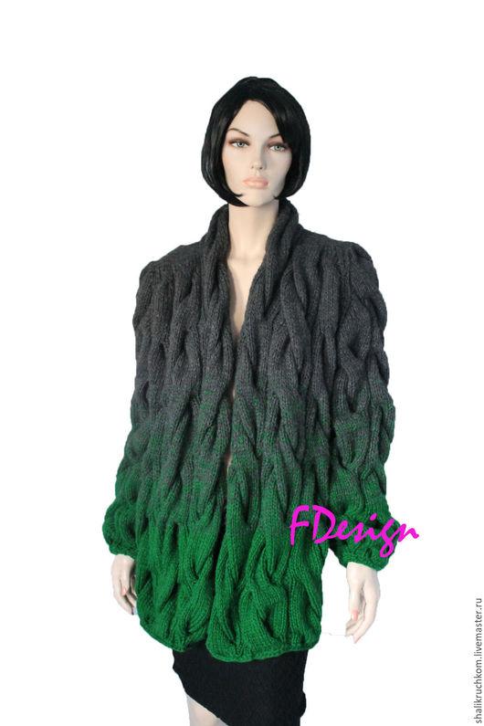Кофты и свитера ручной работы. Ярмарка Мастеров - ручная работа. Купить Вязаный кардиган шарпей косы ручной работы. Handmade.