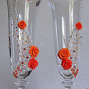 """Свадебный салон ручной работы. Ярмарка Мастеров - ручная работа Свадебные бокалы """"Оранжевый сон"""". Handmade."""