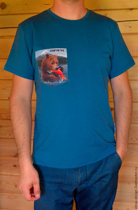 Футболки, майки ручной работы. Ярмарка Мастеров - ручная работа. Купить Футболка с контрастным нагрудным карманом Kamchatka Life. Handmade.
