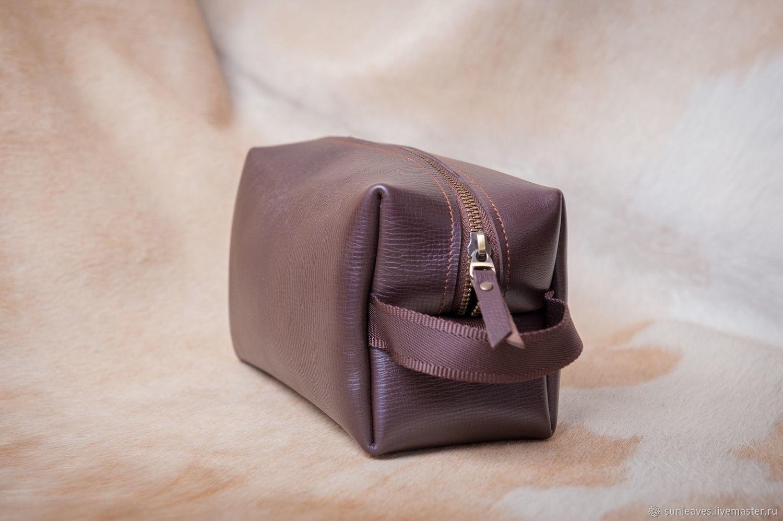 Сумочка-косметичка на молнии коричневая Small, Классическая сумка, Санкт-Петербург,  Фото №1
