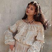 """Одежда ручной работы. Ярмарка Мастеров - ручная работа Бохо-платье """"Одетта.Cream"""" венчальное. Handmade."""