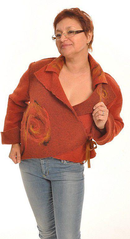 """Пиджаки, жакеты ручной работы. Ярмарка Мастеров - ручная работа. Купить Жакет  """"Солнечная осень"""". Handmade. Валяный жакет, фильцевание"""