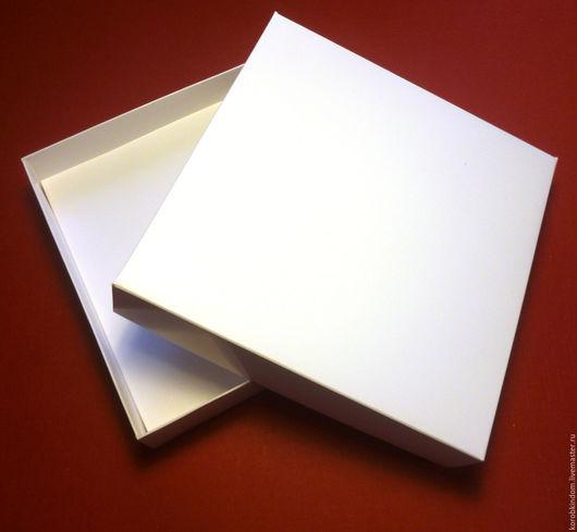 """Упаковка ручной работы. Ярмарка Мастеров - ручная работа. Купить Коробочка 16х16х3,5 """"крышка-дно"""" белая для колье. Handmade."""