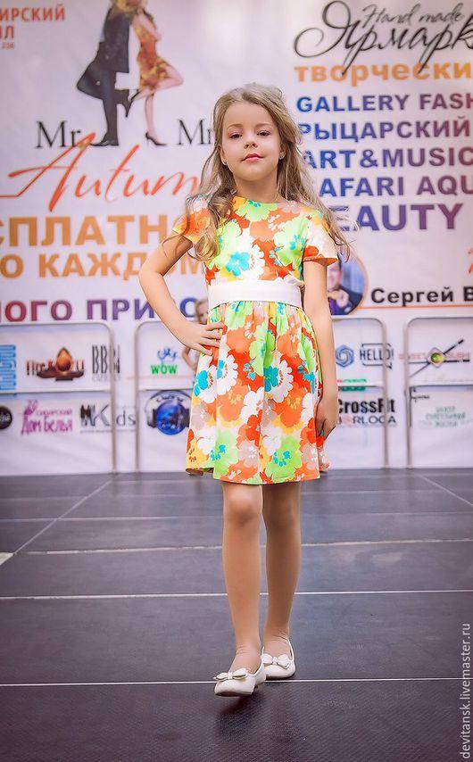 Одежда для девочек, ручной работы. Ярмарка Мастеров - ручная работа. Купить Детское платье для девочки из сатина с цветами. Handmade. сатин