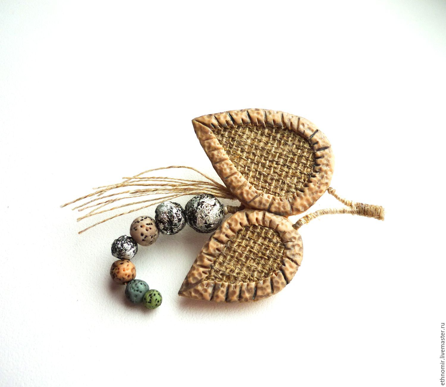 brooch `Twig`No. `№1 flax; the series `Fancy brooches`