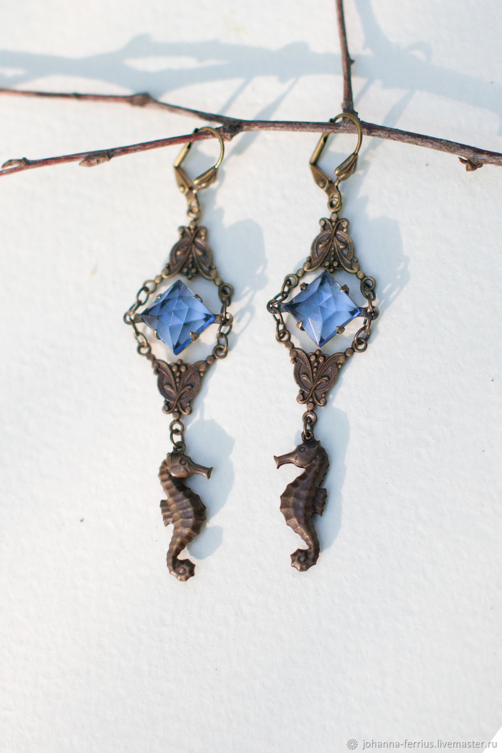 Brooches handmade. Livemaster - handmade. Buy Earrings with crystal in vintage style ' Sea horse'.Sea