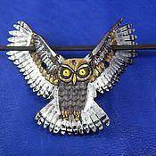 Украшения handmade. Livemaster - original item Leather barrette hair Silver owl. Handmade.
