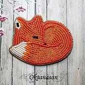 Украшения handmade. Livemaster - original item A beaded brooch Fox. Handmade.