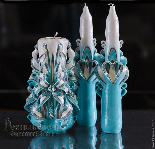 Резные свадебные свечи ручной работы Завтрак у Тиффани.. Домашний очаг.Свадебные резные свечи. Резные свечи.Свечи резные.