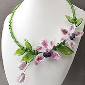 Украшения ручной работы. Ярмарка Мастеров - ручная работа Колье лэмпворк орхидеи большое. Handmade.
