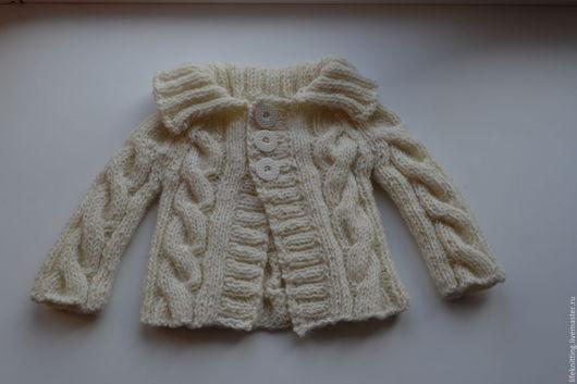 Одежда для мальчиков, ручной работы. Ярмарка Мастеров - ручная работа. Купить Джемпер вязаный для малыша. Handmade. Белый, вязаный спицами