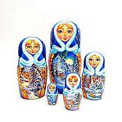 Русский стиль ручной работы. Ярмарка Мастеров - ручная работа Матрешка расписная зимние пейзажи сюжеты, набор из 5 кукол. Handmade.