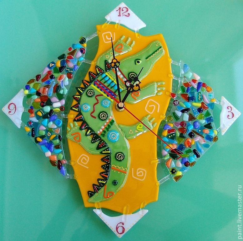Wall clock made of glass. African style fusing. Along the Nile, Watch, Khabarovsk, Фото №1